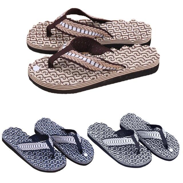 29d6c61f3828 New 1Pair Summer Soft Casual Men Flat Wedge Sandals Thong Flip Flops  Massage Slipper Beach