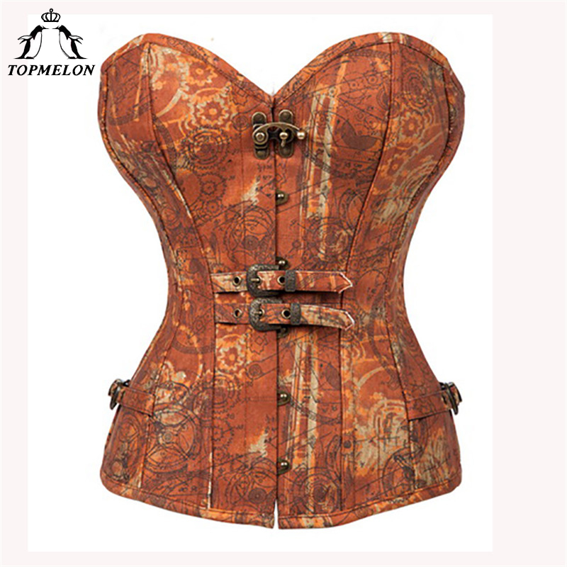TOPMELON Floral Steampunk Corsets Bustiers Gothic Women Steel Boned Corselet Sexy Retro Buckles Gears Pattern Tops 6XL Plus Size