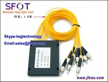 1*8 PLC Divisor De Fibra Óptica FTTH, ABS embalaje, FC/UPC SM conector, 2.0mm cable, 1.5 m de longitud, para GPON EPON