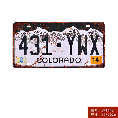 USA سيارة رخصة لوحة معدنية الأمريكية رقم سيارة القصدير علامات بار حانة مقهى ديكور المعادن تسجيل المرآب اللوحة الفن اللوحة المشارك