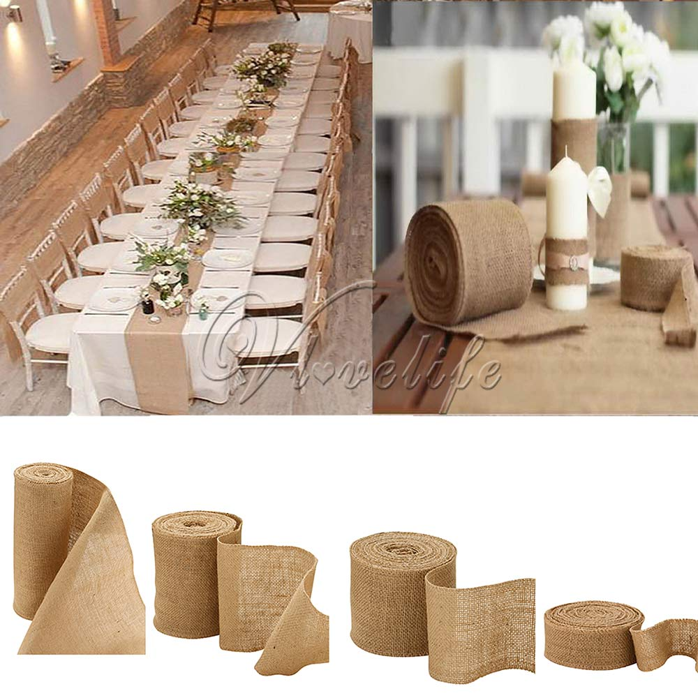 10meter Natural Jute Hessian Burlap Ribbon Roll Burlap Table Runners Wedding Party Chair Bands