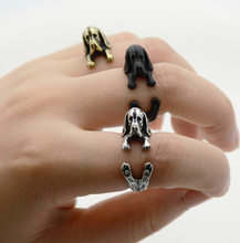 Antique Silver Punk 3D Basset Hound Puppy Golden Retriever Animal Wrap Ring Men Jewelry Anel Anillos Boho Chic Rings For Women