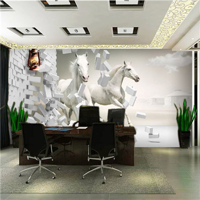 Free shipping 3d large wall murals of white horse for Wallpaper for office room