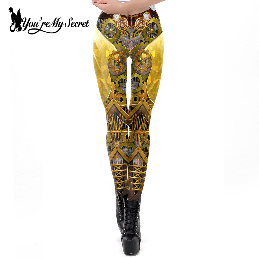 [You're My Secret] New Retro Design Leggings Women Steampunk Gear leggin Women Mid Waist 3d Print Cosplay