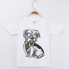 New White T Shirt For Girls Children Clothing Boys Tshirt Cotton O-Neck Funny T-Shirt Schnauzer Printing Short Sleeve Kids Tees