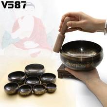 Латунная тибетская Поющая чаша для йоги Поющая чаша для медитаций Гималайская ручная чеканка медитация звук массаж домашний орнамент