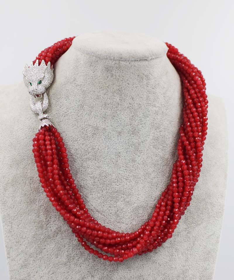 13rows կարմիր ժադե կլոր 4 մմ երեսպատման - Նուրբ զարդեր - Լուսանկար 1