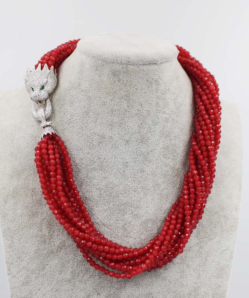 13rows red jade round 4mm faceted necklace 19inch leopard clasp wholesale beads nature FPPJ woman 2017 in Necklaces from Jewelry Accessories