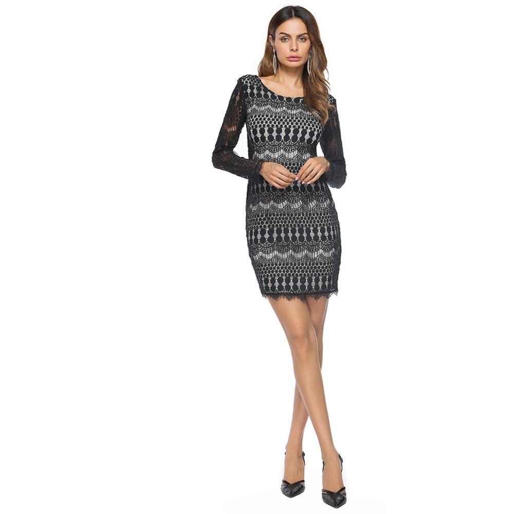 Vestido de alta calidad de las mujeres 2018 Comercio exterior nueva primavera de las mujeres de manga larga de encaje de corte Slim Color vestido de encaje vestidos ES21