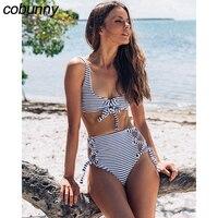 Cobunny 2018 High Waist Bikini Women Bodysuit Swimsuit Sexy Swimwear Striped Bikini Set Bandage Bathing Suit