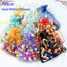 Organza Gift Bags Wholesale 100pcs/lot Small 7*9cm Mix Color Gold Heart Printing Drawstring Jewelry Pouches Packaging Bag