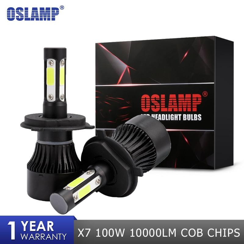 Oslamp X7 100 w 1000LM Auto HA CONDOTTO il Faro Lampadine H4 H7 H11 H13 9004 9005 9006 Chip COB Led Auto lampadina 12 24 v 6500 k Del Faro