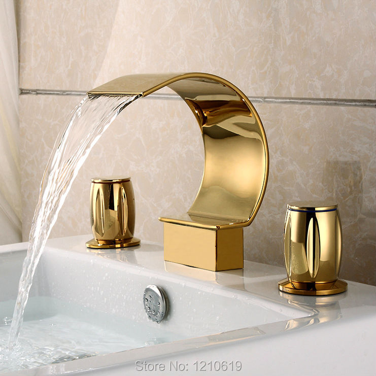 Newly US Free Shipping Luxury Arc-shape Spout Bathroom Sink Basin Faucet Golden Polished Dual Handles Mixer Tap Deck Mounted