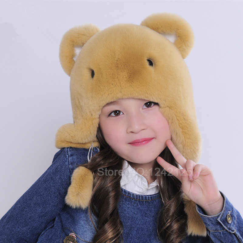 Baby boy girl children autumn winter hat kids full real rex rabbit fur hat lovely Cartoon child bear ear protector Earmuff cap new autumn winter warm children fur hat women parent child real raccoon hat with two tails mongolia fur hat cute round hat cap