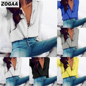 ZOGAA Womens Tops And Blouses Streetwear Women Shirts Long Sleeve Turn-down Collar Clothes Button Spring Blouse Women Tops