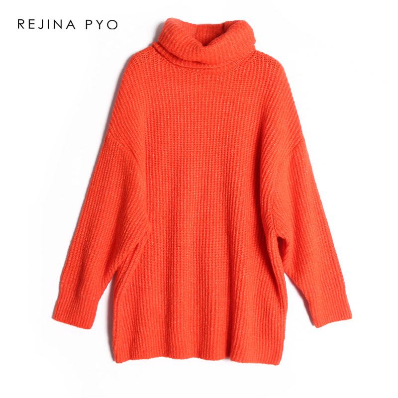 REJINAPYO 15 Color Women Fashion Solid Casual Knitted Sweater Female Turtleneck Oversized Pullover Ladies Elegant Loose Sweater 9