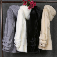 Пушистый искусственный мех пальто 2018 осень и зима с длинными рукавами пальто с капюшоном верхняя одежда плюс Размеры L 4Xl Ds50143