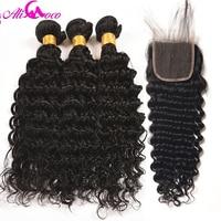 Ali Coco Brazilian Deep Wave 3 Bundles With Closure Free Part 100 Human Hair Bundles With