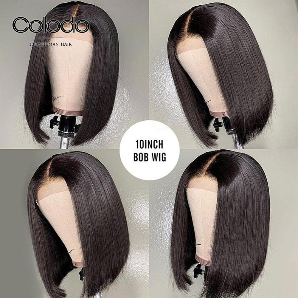 COLODO 13x6 Lace Front Wig 10inch Short Bob Wigs Pre Plucked Baby Hair Brazilian Remy Lace