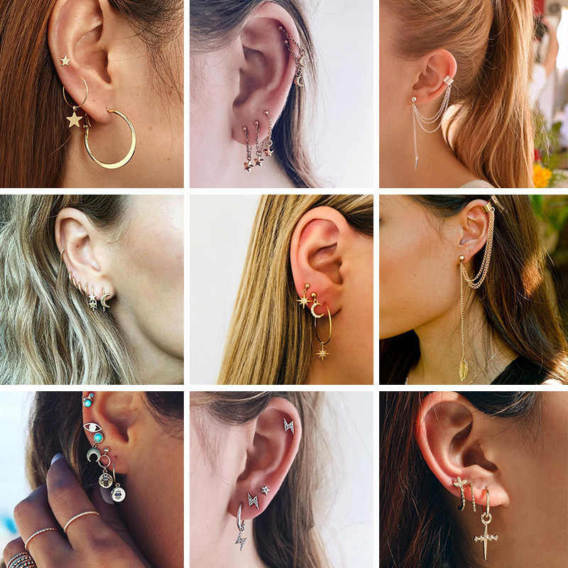 New Fashion Popular Earrings Star Women's Cross Earrings Set Circular Pattern Boho Lady's Personality Earrings Wholesale 2019