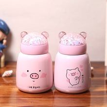 Personality Cute Pig Thermo Mug Stainless Steel Vacuum Flask Korea Creative Belly Cup Children Students Portable Water Bottle
