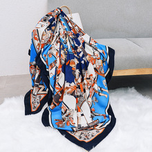 Luxury Silk Cashmere Blue Scarf For Women Printed Large Hijab Scarfs 140*140cm Square Shawls Neckerchief Scarves For Ladies 2019