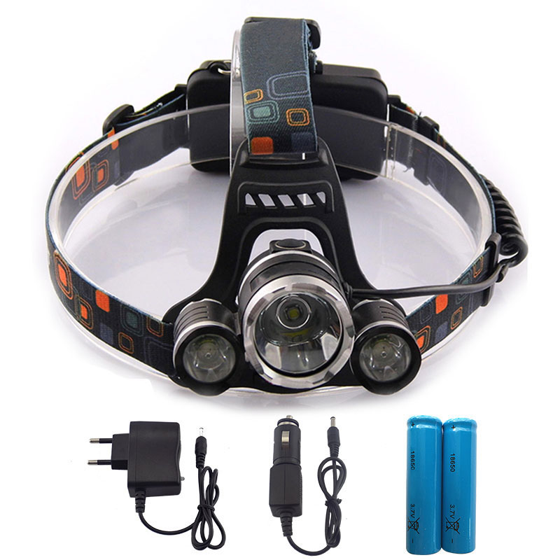 XM-L XML T6 LED Headlight 5000Lm Rechargeable LED Headlamp T6 Flashlight Head lamp Torch with AC Car Charger 18650 Battery t6 xpe led head lamp 50w zoomable headlamp 5leds headlight tube torch led flashlight car charger 18650 batteries high lights