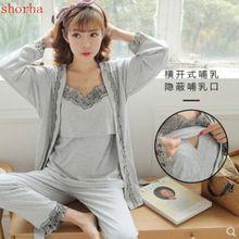 Сексуальная пижама для кормящих мам, Хлопковая пижама для кормящих грудью, Одежда для беременных женщин на весну-осень, ночная сорочка для беременных