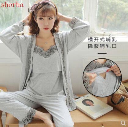 302af73b9528f Sexy Maternity Nursing Pajamas Cotton Breastfeeding Sleepwear Clothes for  Pregnant Women Spring Autumn Pregnancy Nightwear