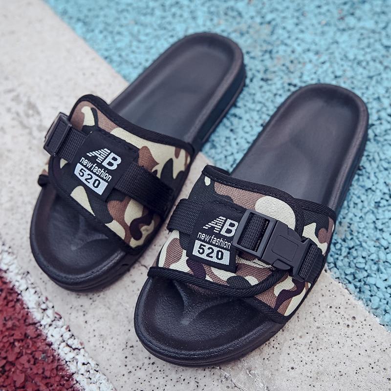 9d3c4da651821 COOLSA Women `s Men Summer Flat Slippers Net Non-slip Ladies Men `s Flip  Flops Camouflage Letters Couple beach slippers Big Size 44