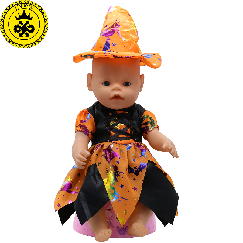 Baby Born Doll Clothes Cute Halloween Witch Dress Fit 43cm Zapf Baby Born 16-18 inch Doll Accessories Children Birthday Gifts T1 american girl doll clothes halloween witch dress cosplay costume for 16 18 inches doll alexander dress doll accessories x 68