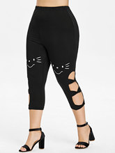 Plus Size High Waist Side Cut Out Skinny Leggings for Women