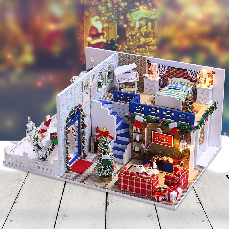 Miniature Dollhouse DIY Doll House Casa Wooden Model With Furniture Building Kits Christmas Gift Toys For Children Adult K026 #E robotime diy ada s studio children adult miniature wooden doll house with furniture model building dollhouse toys dg103