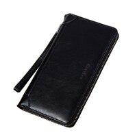 Nova moda embreagem masculina carteira de cera de óleo homens carteiras wristlet homens sacos de embreagem bolsa de moedas carteira de couro masculino|Carteiras|   -