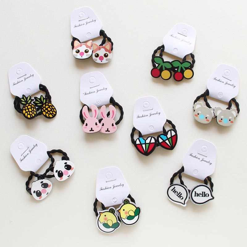 Hot 2Pcs Cartoon Animal hairpin Rabbit Hair Clip for Kids hairgrips  Elastic barrettes Hair Band girls kids hair Accessories