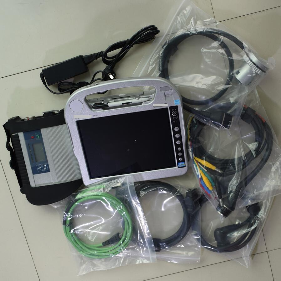 Free DHL MB Star C4 Star Diagnosis with Laptop Toughbook CF-h2 WIFI MB SD connect compact 4 V2018.03