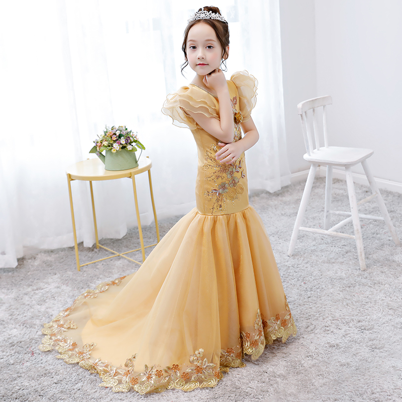 Mermaid Dress Long Tailing Appliques Flower Girl Dresses Luxury Gold Birthday Gown Girls Formal Puff Sleeve Tutu Princess Dress puff sleeve peplum top