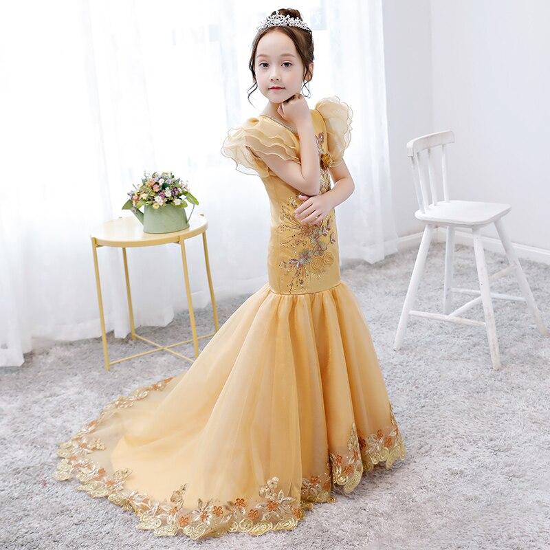 Robe sirène longue queue Appliques robes de demoiselle d'honneur robe d'anniversaire en or de luxe filles robe de princesse Tutu à manches bouffantes