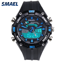 2017 SMAEL NewMale Watch Tide Male Fashion Han Edition Student Movement Quartz Waterproof Electronic Dual Display