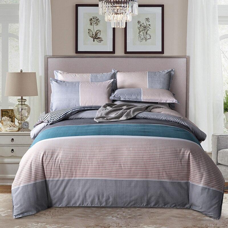 Simple Classic Queen Bedding Set 5 Size Bed Linen 4pcs/set Duvet Cover Set Pastoral Bed Sheet AB Side Duvet Cover 2019 Bed