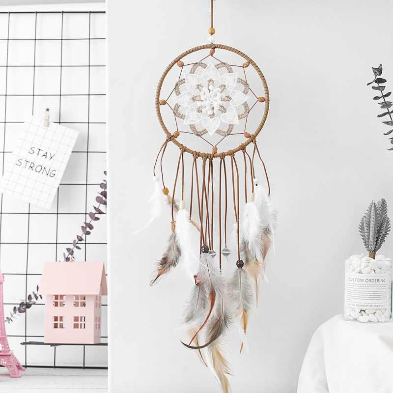 Handmade Indian Dream Catcher Feather Dreamcatcher Wind Chimes Wall Hanging Decoration Car Ornament Craft Gifts