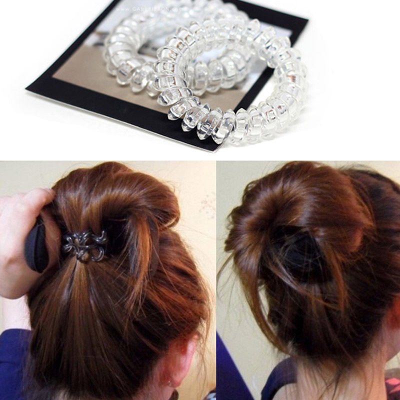 5pcs/lot  Clear Women Elastic Rubber Hairband Spiral Shape Ponytail Hair Ties  Phone Wire Hair Scrunchies  Headwear Accessories