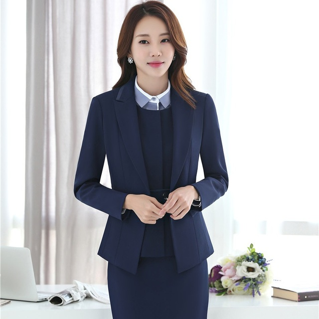 d9925230bbd Ladies Office Work Wear Blazers Formal Uniform Design Professional Business  Suits With 3 pieces Jackets + Skirt + Vest Outfits