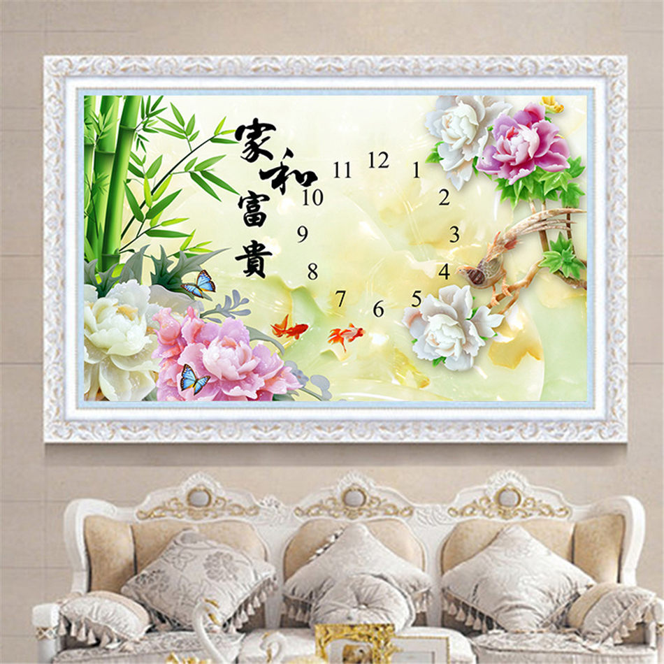 Čínský přírodní motýl a květiny & ptáci 5D DIY Diamond malba Diamond Mosaic Prodej Plné kulaté výšivky Cross Stitch s hodinami