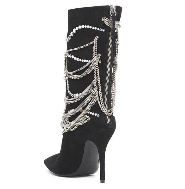 Daim Bout Femmes Perle Vache As Chaussures Bottes Picture Fringe Super Date Mince Femme Chaîne En Zip Design Haute Femelle Pointu Brand Talon wIxSnp0dqF