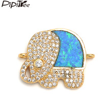 Pipitree Micro Pave Cubic Zirconia Elephant Charms Animal Jewelry DIY Shiny Blue Fire Opal Charms Connectors for Bracelet Making(China)