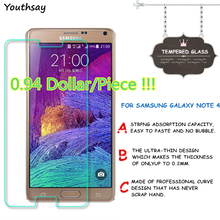 цены 2pcs Screen Protector For Samsung Galaxy Note 4 Tempered Glass N9100 N910F Thin HD Toughened Protective Film + Cleaning Kit