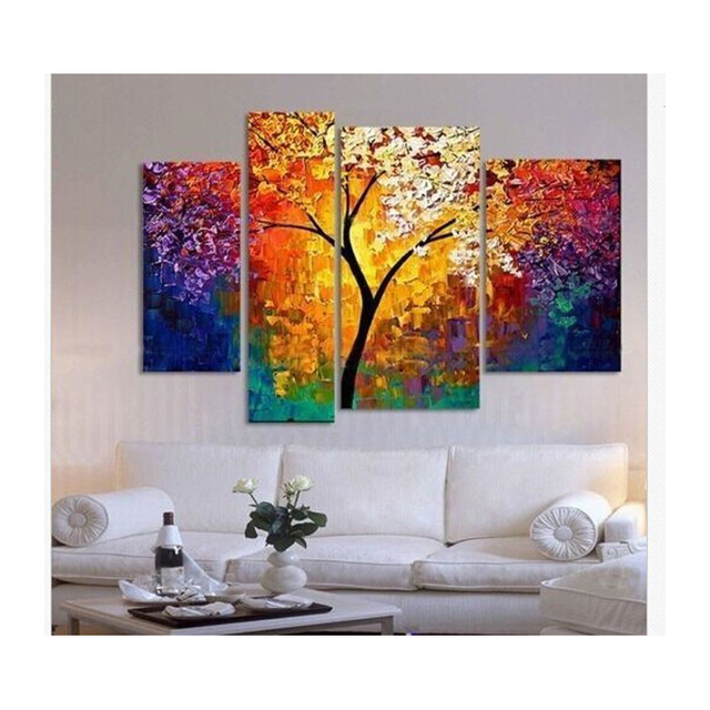 Paintings For Living Room Light Grey Leather Sofa Ideas Handpainted Oil Painting Palette Knife Wall Large Canvas Art Cheap Abstract Tree 4 Pieces Ready Framed
