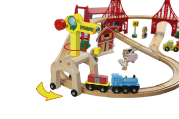 EDWONE -One Set Move Crane and One Tender -Thomas Wooden Train Straight Track Railway Accessories  For ThomaS Brio