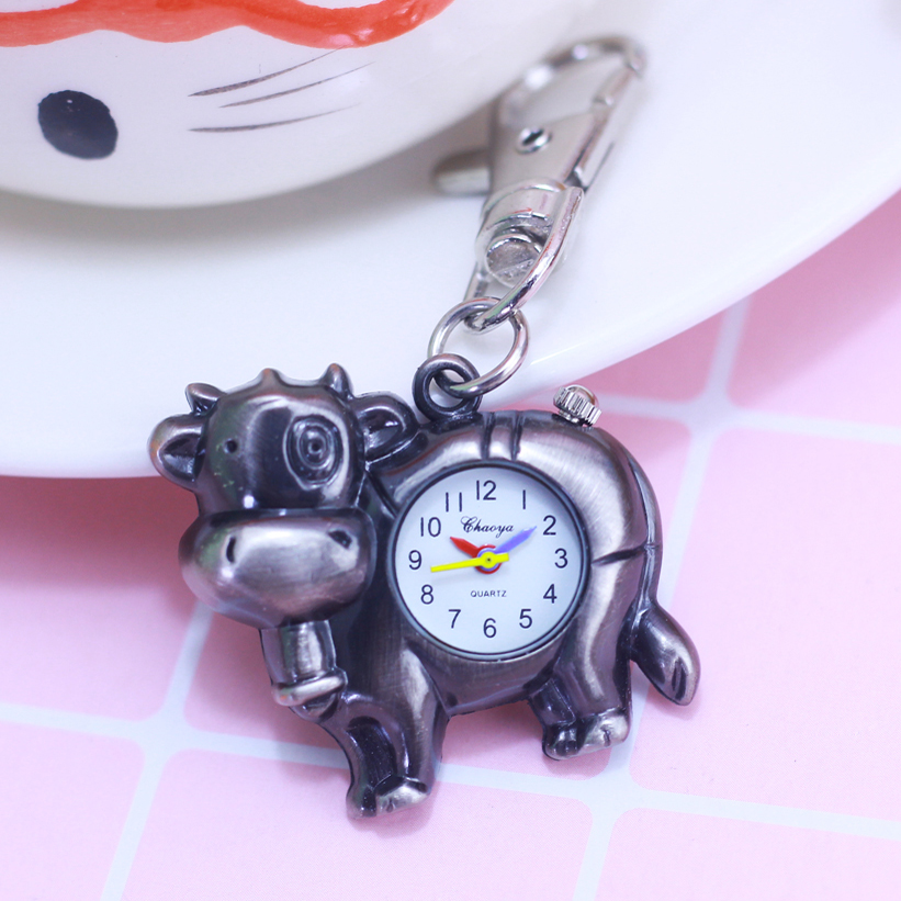 2018 Fashion Lovely Cow-shape Alloy Quartz Pocket Watch Children Boys Students Silver Key Chains Necklace Personality Fob Clock
